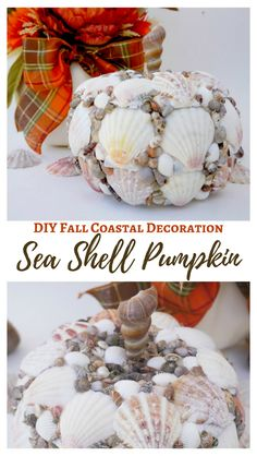 Create your own DIY fall coastal seashell pumpkin with seashells and a foam pumpkin. Gorgeous seashell pumpkin to decorate your home for the fall season. Pumpkin Uses, Diy Pumpkin, Coastal Fall, Coastal Decor, Coastal Interior, Coastal Style, Coastal Living, Seashell Crafts, Beach Crafts