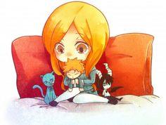 Anime, BLEACH, Kurosaki Ichigo, Inoue Orihime, Ulquiorra Schiffer<--And GrimmKitty in the corner