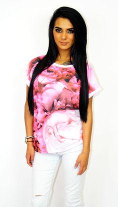 Rose print slouch t-shirt