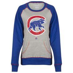 Chicago Cubs Women s Grey and Royal Distressed Crawl Bear Crew Neck  Sweatshirt Cubs Sweatshirt 057c1e676