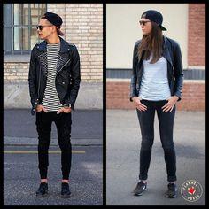 I like the man's version still. The stripes add dimension Tomboy Style, Tomboy Fashion, Fashion Outfits, Minimal Wardrobe, Tomboys, Fashion 2016, Mix N Match, Androgynous, Foxes