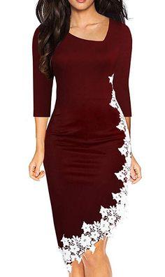 2d993760596b Drimmaks Women's Black Pencil Dress Sleeve Stretchy Irregular Hem with  White Lace Bodycon Dresses - Wedding