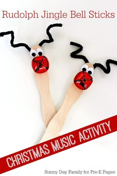 Love these adorable Rudolph Jingle Bell sticks! Super cute Christmas craft for toddlers preschoolers. Fun Christmas music activity too! Kids Crafts, Preschool Christmas Crafts, Toddler Crafts, Christmas Themes, Kids Christmas, Holiday Crafts, Christmas Music, Toddler Christmas Songs, Preschool Music Crafts