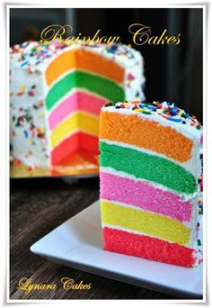 Rainbow Rainbow Layer Cakes, Rainbow Food, Caking It Up, Pretty Cakes, Cake Creations, Cakes And More, No Bake Desserts, Let Them Eat Cake, Cupcake Cakes