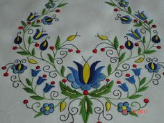 """Embroidery Crewel In Poland there is a style of embroidery called """"Haft Kaszubski"""" which is essentially Kashubian embroidery. It's a lovely style with great colour combinations - especially for those who like blue. Christmas Embroidery Patterns, Crewel Embroidery Kits, Shirt Embroidery, Hand Embroidery Designs, Embroidery Thread, Machine Embroidery, Embroidery Supplies, Polish Embroidery, 1 Tattoo"""