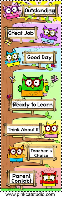 Owl Theme Behavior Clip Chart: This adorable owl theme behavior clip chart will look fantastic in your classroom! Encourage your students to climb to the top of the owl tree by making good choices. By Pink Cat Studio Owl Theme Classroom, Classroom Decor Themes, Classroom Jobs, Classroom Behavior, School Decorations, Classroom Organization, Classroom Management, Behavior Management, Tree Decorations