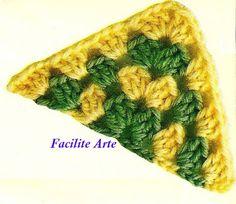 Facilite Sua Arte: Crochê: Meio Quadrado (26)