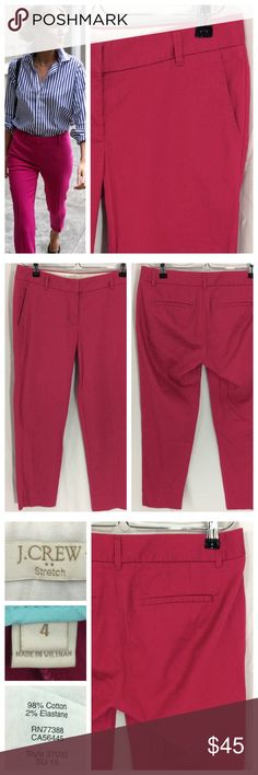 """J. Crew Raspberry Crop Pants Don't you love J. Crew color palette?? These pants are no exception - beautiful raspberry crop pants with flattering flat front, hidden zip and tab closure. Back darts narrow waist gap. Crisp cotton with 2% elastic for perfect fit and comfort. Size 4, 15.5"""" waist, 25"""" inseam. Excellent condition. J. Crew Pants Ankle & Cropped"""