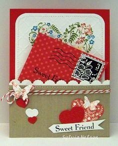 Valentine's Day Card Sweet Friend...Sweet notecard by Sylviascorner on Etsy, $4.50