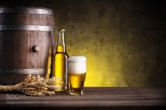 Barrel bottle and glass of beer by madhunter7777777