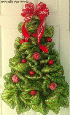 Christmas tree wreath for door