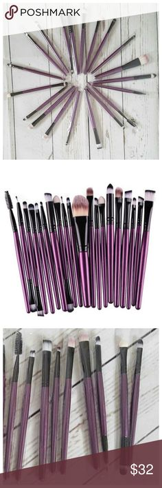 20pc Makeup Brush Tools Set - Purple & Black 100% Brand new & high quality make-up brush set. Material: Goat Hair. Handle Material: Wood. Brush Material: Synthetic Hair. Professional quality brush set which includes all the basics for daily applications. Items included: Foundation Powder Brush, Lip Brush, Mascara Brush, Eyeshadow Brush, Two Sided Brushes, Eyebrow Mascara Brush, Sponge Brush, Smudge Brush, Nose Shadow Brush, Eyeliner Brush. Each brush packaged individually. Color: Purple…