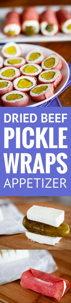 Dried Beef Pickle Wraps -- This pickle appetizer looks a little odd, but I promise it's one of the most delicious combinations you'll ever try AND it's super easy to make... With just three ingredients, it's pickle wraps for the win! | pickle wraps recipe | dill pickle wraps | pickle wraps pinwheels | pickle wraps appetizers | find the recipe on unsophisticook.com #appetizer #pickles #easyrecipes