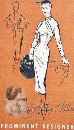 (50's I can wear) Prominent Designer M272; ca.1950s; Alan Phillips Surplice Empire Dress pattern. (50's I can wear)