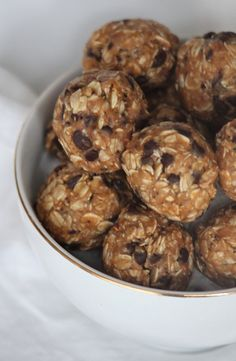 4 ingredient peanut butter oatmeal chocolate chip energy bites. Maybe 1/4 honey to ease up on the sugar! Or Add stevia.
