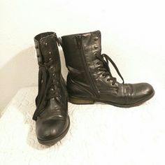 Black combat boots These boots are clean. They do have some scratches at the tip, as shown. They're in great used condition. Wanted Shoes Combat & Moto Boots