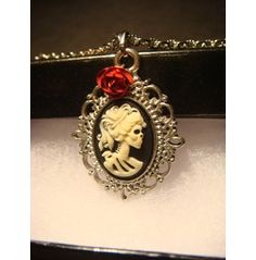 Small Skeleton Goddess Cameo Necklace Red Rose