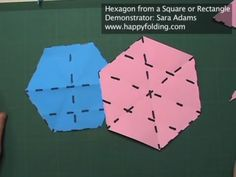 Hexagon from a Square or Rectangle: Instructions Origami And Math, Origami Box, Origami Flowers, Origami Instructions, Origami Tutorial, Six Sided Polygon, Diy Paper, Paper Crafts, Christmas Origami