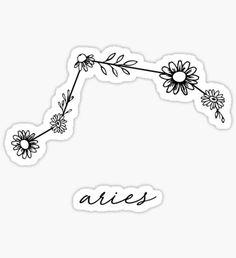 Pegatina Aries Zodiac Wildflower Constellation