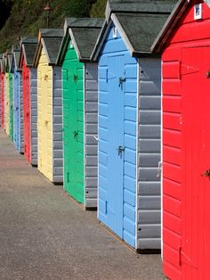 Beach Huts at Seaton, South Devon, England #bestbeaches #holidaycottages www.holidaycottages.co.uk/holidays/devon/south-devon/seaton