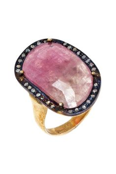 Pink Sapphire Diamond Halo Ring by Jewels By Lori K on @HauteLook