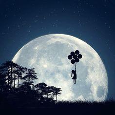 Dream Art Girl Moon And Balloons Anime Amino, Sun Moon Stars, Moon Magic, Beautiful Moon, Dream Art, Moon Art, Moon Moon, Full Moon, Moon Child