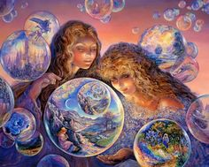 Celestial Journey - Fantasy World of Josephine Wall - Josephine Wall Fantasy Art Paintings : Bubble World 37 Josephine Wall, Art And Illustration, Fantasy Kunst, Fantasy Art, Bubble World, Arthur Rackham, Kunst Poster, Fantasy Paintings, Wall Paintings