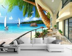 Papier peint photo trompe l'œil effet 3D - Appartement au bord de la mer - Extension d'espace