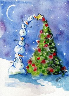 Snowman Christmas Tree Print by Sylvia Pimental