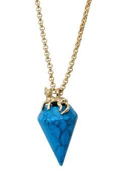 Gold Fox & Turquoise Quartz Charm Necklace