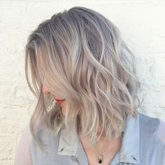 Image result for hair long bob grey blonde