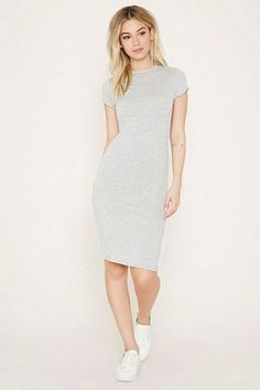 Grey knee length dress, sweater dress with simple cute flat sneakers | skippies, keds