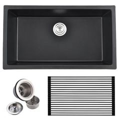 Check out the Modern Commercial Undermount Black Kitchen Farmhouse Sink. We love black farmhouse sinks especially if you have white cabinets at home. Black Farmhouse Sink, Farmhouse Sink Kitchen, Farmhouse Storage Cabinets, Upholstered Rocking Chairs, Grey Painted Kitchen, Skylight Design, Granite Kitchen Sinks, Black Sink, Freestanding Kitchen