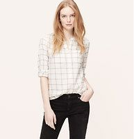Plaid Henley Softened Shirt - Meet the softened shirt – a light and airy button-down, with no detail left unbuttoned. Modernized in a clean windowpane plaid, this popover is positively polished. Split henley placket. Long sleeves. Button cuffs. Shirred at neckline and back yoke. Shirttail hem.