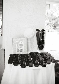'dont get blinded by our love' such a cool wedding idea