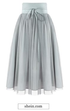 Fairy tulle skirt. Grey High Waist Pleated Mesh Skirt.