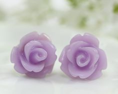 Frosted Lavender Rose Ear Posts Bridal Jewelry by TrinketHouse, $6.90