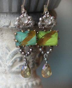 STILL WATERS vintage assemblage earrings  www.crownedbygrace.etsy.com