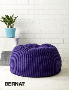 Free knitting pattern for Take Notice Pouf to use as footstool or seat