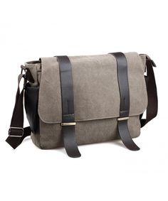 fa0b960dc311 Mens Messenger Bag Canvas laptop Vintage School Bag Large Crossbody Bags  For Men - khaki - C41872O8M89