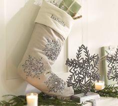 Beaded Snowflake Stocking #potterybarn #pinparty