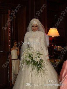 feitos muçulmano estilo oriente médio bola vestido de noiva vestidos com mangas compridas, gola alta gola alta brilhante lantejoulas vestidos de