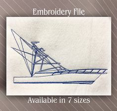 Fishing Boat Embroidery design Machine Embroidery File Digital