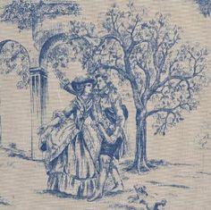 """""""Toile de Jouy"""" est une peinture de personnes dans une scène avec une abondance de motifs floraux."""