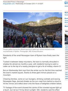 Norwegian town of Rjukan has sun
