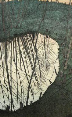 Gravure Illustration, Illustration Art, Landscape Art, Landscape Paintings, Watercolor Landscape, Grafik Art, Davidson Galleries, Art Walk, Tree Art