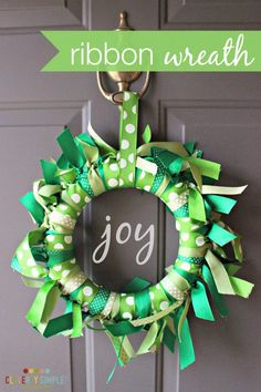 Every year I attempt some sort of DIY wreath at my house.  Here's an easy craft that takes less than an hour.  Grab some ribbon and a styrofoam wreath and make this DIY ribbon wreath!