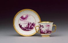 Meissen chocolate cup and saucer circa 1728-30