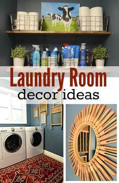 laundry room decorating ideas on a budget Laundry Room Decor Ideas. Inexpensive ideas to decorate your laundry room! Laundry Decor, Laundry Room Organization, Laundry Room Design, Laundry In Bathroom, Laundry Rooms, Laundry Tips, Small Laundry, Laundry Area, Laundry Closet