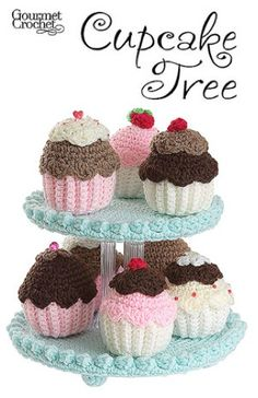 """Cupcake Tree Pattern GC32107 - Have fun crocheting this collection of fanciful frosted cupcakes! Tiered display stand is perfect for displaying all your small crocheted desserts and treats.Size: Each cupcake is 3 1/2"""" to 4"""" high"""